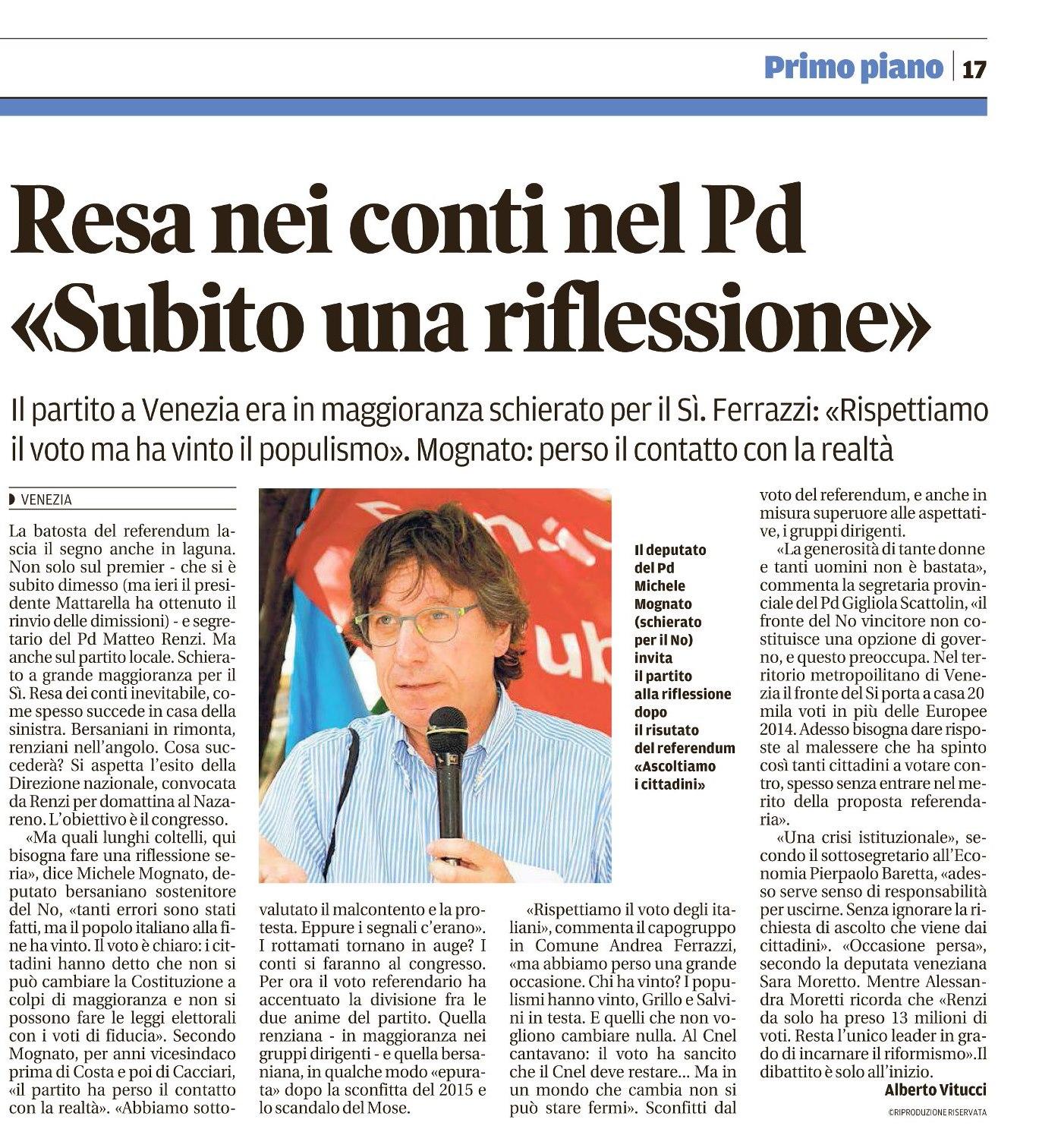 Resa dei conti nel PD, dichiarazione sottosegretario Baretta